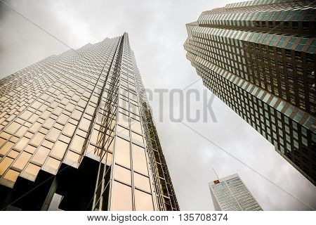 Modern business skyscrapers, high-rise buildings, architecture raising to the sky