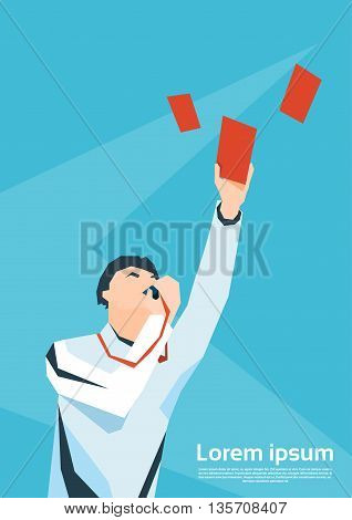 Football Referee Whistle Show Red Card Flat Vector Illustration