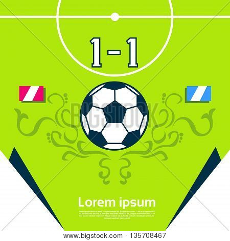 Football Match Score Board Banner Flat Vector Illustration