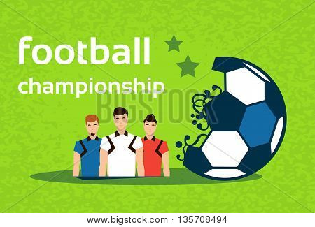Football Championship Colorful Banner Flat Vector Illustration