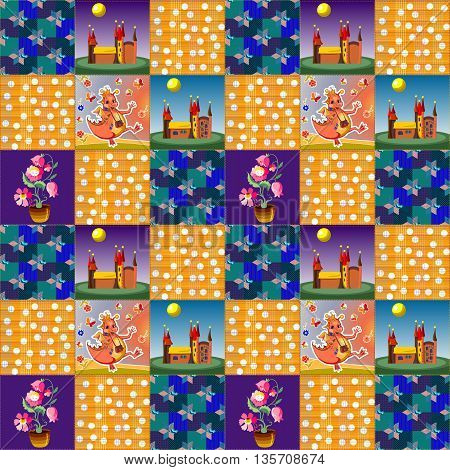 Seamless patchwork pattern with happy dragon, flowers, castle and ornamental patches. Childish vector illustration.