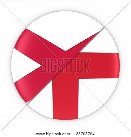 Northern Irish And English Relations - Badge Flag Of Northern Ireland And England 3D Illustration