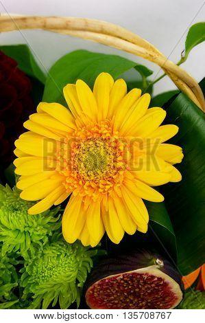 gerbera in a bouquet. Autumn bouquet of flowers