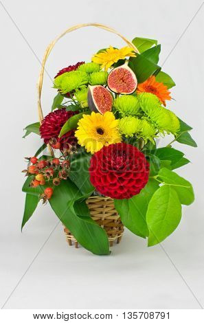 Flower Arrangement of dahlias gerbera chrysanthemum rose fig.