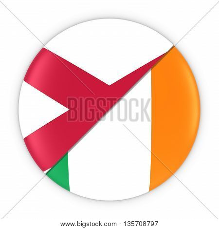 Northern Irish And Irish Relations - Badge Flag Of Northern Ireland And Ireland 3D Illustration