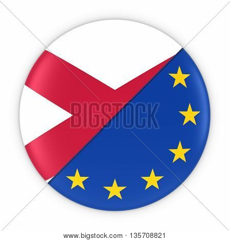 Northern Irish And European Relations - Badge Flag Of Northern Ireland And Europe 3D Illustration