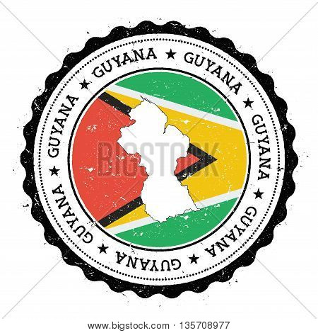 Guyana Map And Flag In Vintage Rubber Stamp Of State Colours. Grungy Travel Stamp With Map And Flag