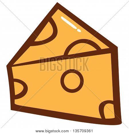 Delicious Cheese Slice Yellow Cartoon Vector Clipart
