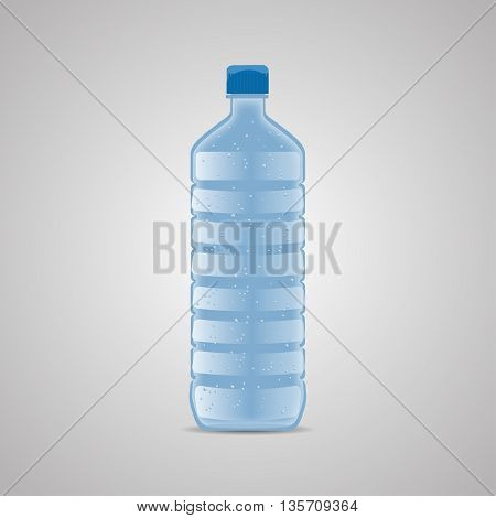 Vector bottle with clean blue water. Vector illustration