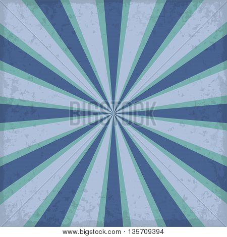 Vintage blue rising sun or sun raysun burst retro background design
