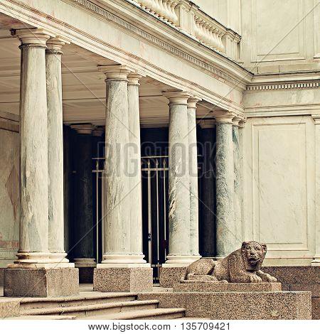 Marble Lion in Peterhof. Saint Petersburg Russia