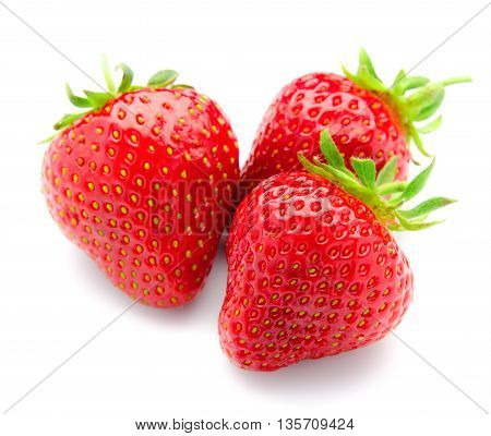 Fresh, tasty strawberries with leaves, isolated on a white background.