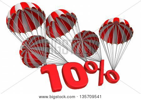 Ten percent is falling down on parachute. Isolated. 3D Illustration