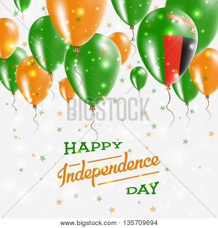 Zambia Vector Patriotic Poster. Independence Day Placard With Bright Colorful Balloons Of Country Na