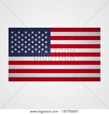 USA flag on a gray background. Vector illustration