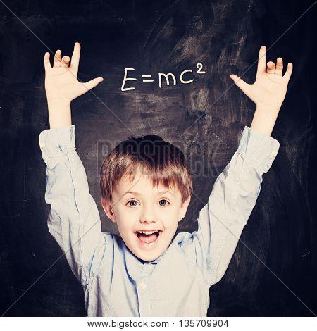 Funny Child School Boy on black background