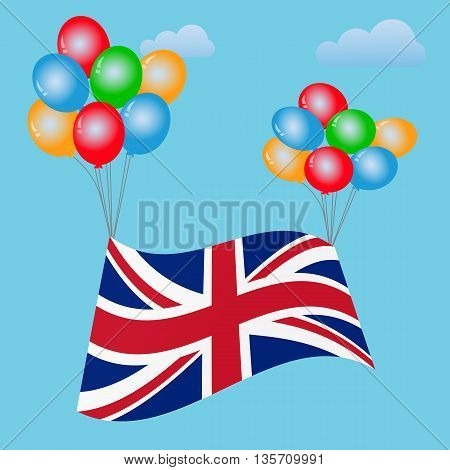 Festive balloons background with United Kingdom Flag. Brexit. Brexit UK. UK Referendum. UK Leave EU.  Great Britain.