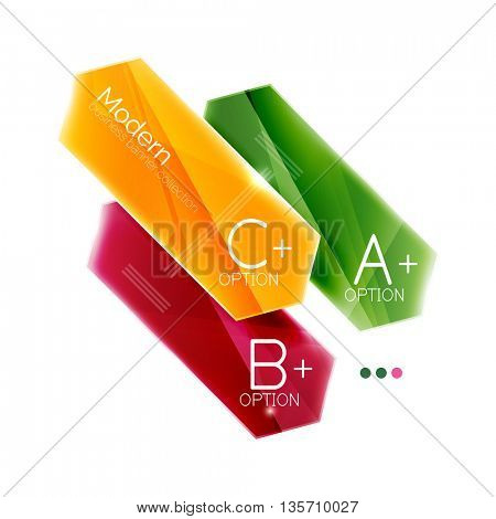 Colorful glossy stripes arrows. Business infographics with sample options, slogan and buttons