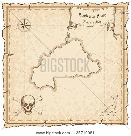 Burkina Faso Old Pirate Map. Sepia Engraved Template Of Treasure Map. Stylized Pirate Map On Vintage