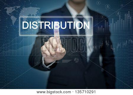 Businessman hand touching DISTRIBUTION button on virtual screen