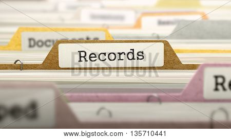 Records Concept on File Label in Multicolor Card Index. Closeup View. Selective Focus. 3D Render.