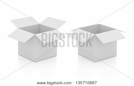 Blank open boxes. Isolated on white background. Photo realistic packages. 3D illustration.