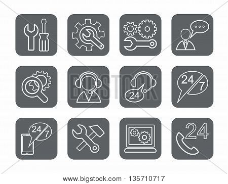Vector linear icons of tools for repair and maintenance of electronics and equipment. White image on a gray background.