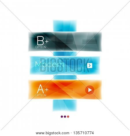 Business stripes geometric infographic template with sample options and slogan. Glossy glass shiny colorful design, single vector illustration. Infographics layout concept, menu ui app banner