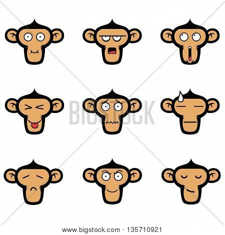 Monkey Cute Face Expressions Vector Clipart Set