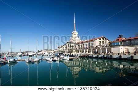 Sochi, Russia - February 9, 2016: Marine station - station complex Port of Sochi in the central region of Sochi, Krasnodar Krai, Russia.