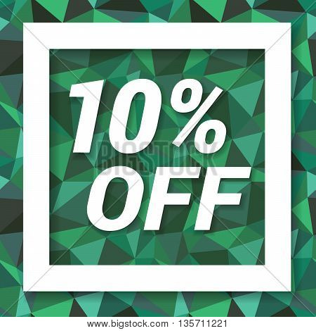 Green emerald sale sticker 10 percent off. Sale and discount banner. Vector illustration