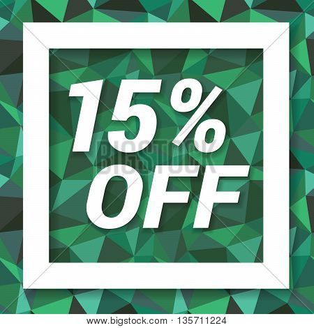 Green emerald sale sticker 15 percent off. Sale and discount banner. Vector illustration