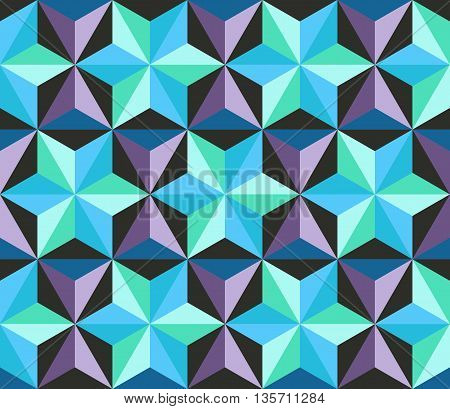Seamless patchwork pattern with stars. Abstract geometric background. Vector illustration.