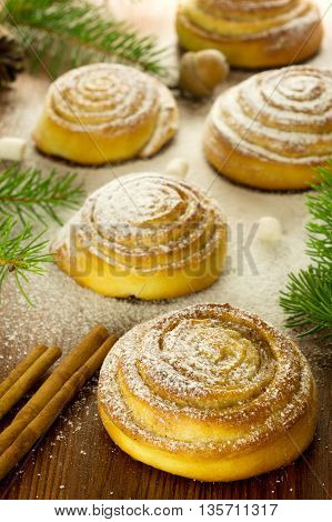 Kanelbulle - swedish cinnamon rolls. Traditional Swedish pastries.
