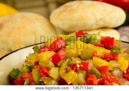 roasted vegetables and homemade tortillas pita. Vegetable ratatouille.