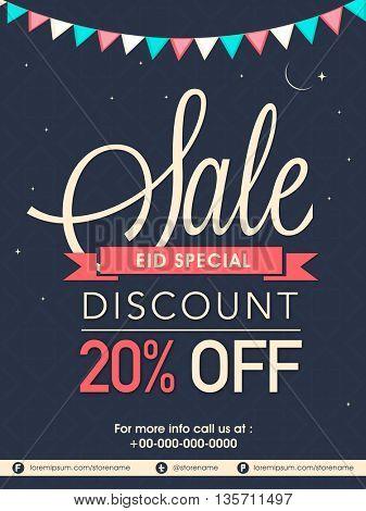 Eid Sale Poster, Sale Banner, Sale Flyer, Special 20% Discount Offer, Vector Illustration.