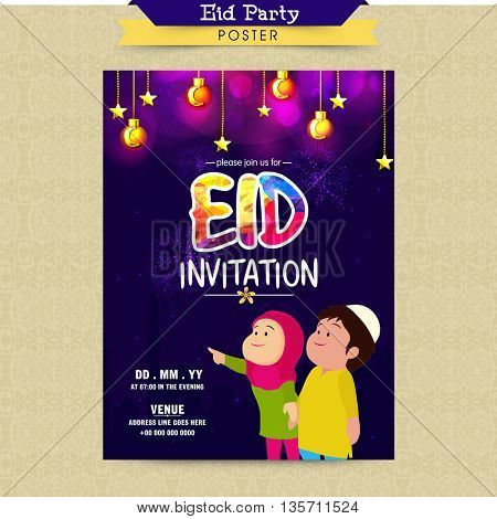 Elegant glowing Invitation Card design with cute Islamic Kids, Enjoying and Celebrating on occasion of Muslim Community Festival, Eid Mubarak.