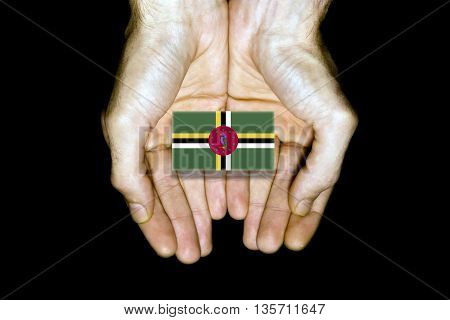 Flag Of Dominica In Hands On Black Background