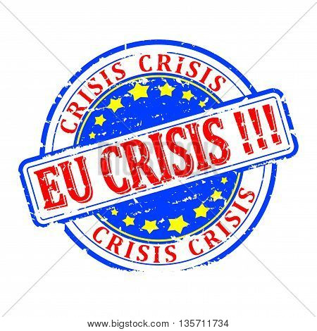 Scratched round red stamped - EU crisis - vector