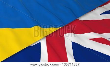 Flags Of Ukraine And The United Kingdom - Split Ukrainian Flag And British Flag 3D Illustration