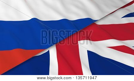 Flags Of Russia And The United Kingdom - Split Russian Flag And British Flag 3D Illustration