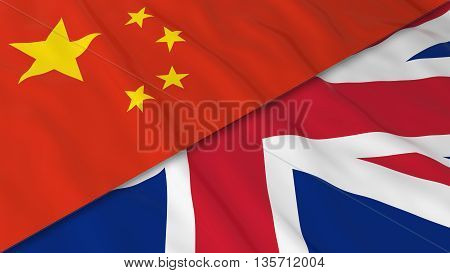 Flags Of China And The United Kingdom - Split Chinese Flag And British Flag 3D Illustration