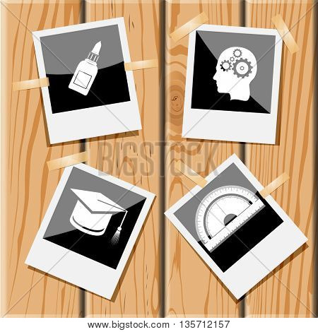 Education set. Photo frames on wooden desk. Vector icons.