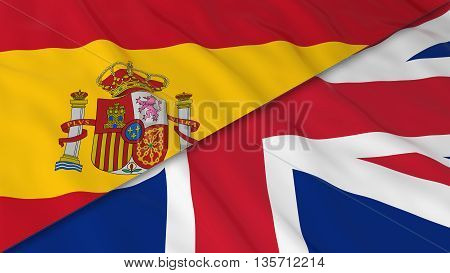 Flags Of Spain And The United Kingdom - Split Spanish Flag And British Flag 3D Illustration