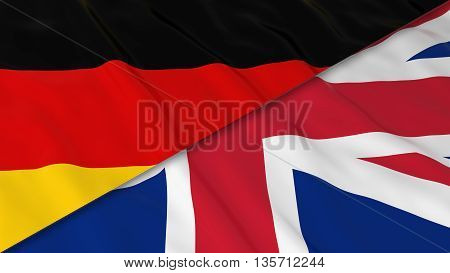 Flags Of Germany And The United Kingdom - Split German Flag And British Flag 3D Illustration