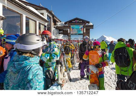 Sochi, Russia - February 10, 2016: Skiers and snowboarders in the ski resort of Rosa Khutor. Krasnaya Polyana.
