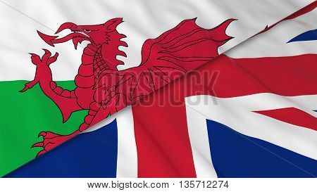 Flags Of Wales And The United Kingdom - Split Welsh Flag And British Flag 3D Illustration