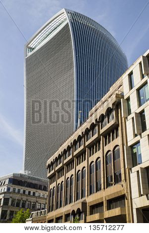 20 Fenchurch Street skycraper in the City of London. The building is also known as the Walkie Talkie.