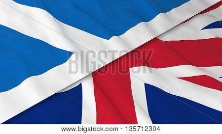 Flags Of Scotland And The United Kingdom - Split Scottish Flag And British Flag 3D Illustration