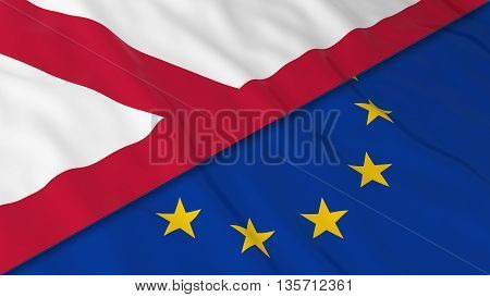 Flags Of Northern Ireland And The Eu - Split Northern Irish Flag And European Flag 3D Illustration
